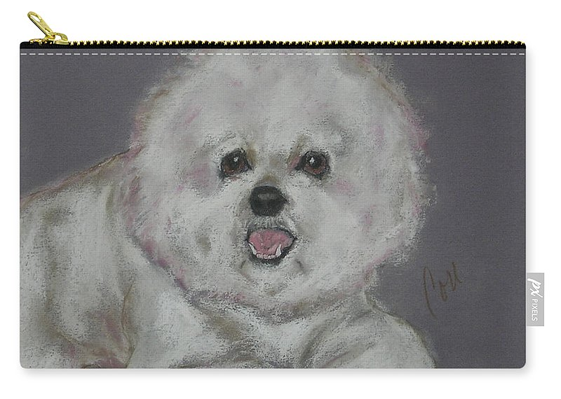 Bichon Frise Carry-all Pouch featuring the drawing Powder Puff by Cori Solomon