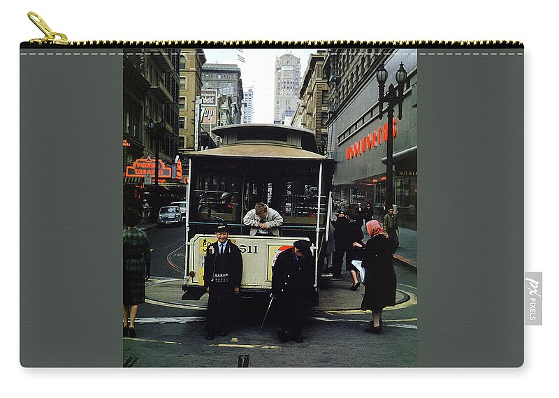 511 Carry-all Pouch featuring the photograph Powell And Mason Street Turnaround, April 6 1961 by Wernher Krutein