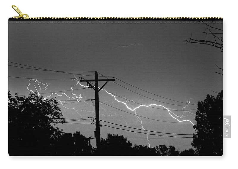 Lightning Carry-all Pouch featuring the photograph Power Lines Bw Fine Art Photo Print by James BO Insogna