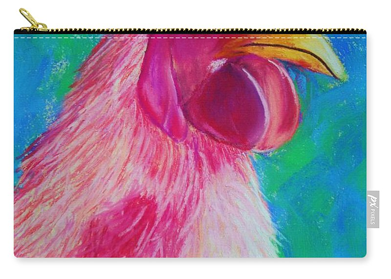 Rooster Carry-all Pouch featuring the painting Powerful In Pink by Melinda Etzold