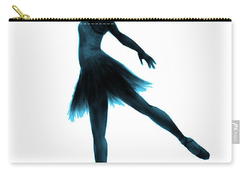 Ballet Carry-all Pouch featuring the digital art Practice Makes Perfect - Blue by Alina Davis
