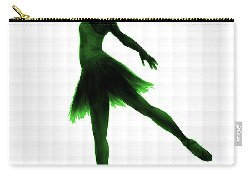 Ballet Carry-all Pouch featuring the digital art Practice Makes Perfect - Green by Alina Davis