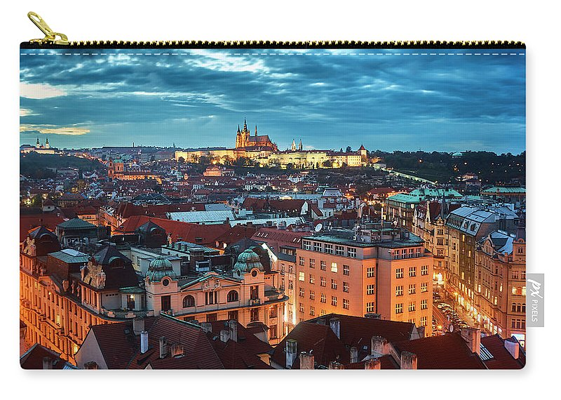 Cityscape Carry-all Pouch featuring the pyrography Prague At Night by Dmitry Dreyer