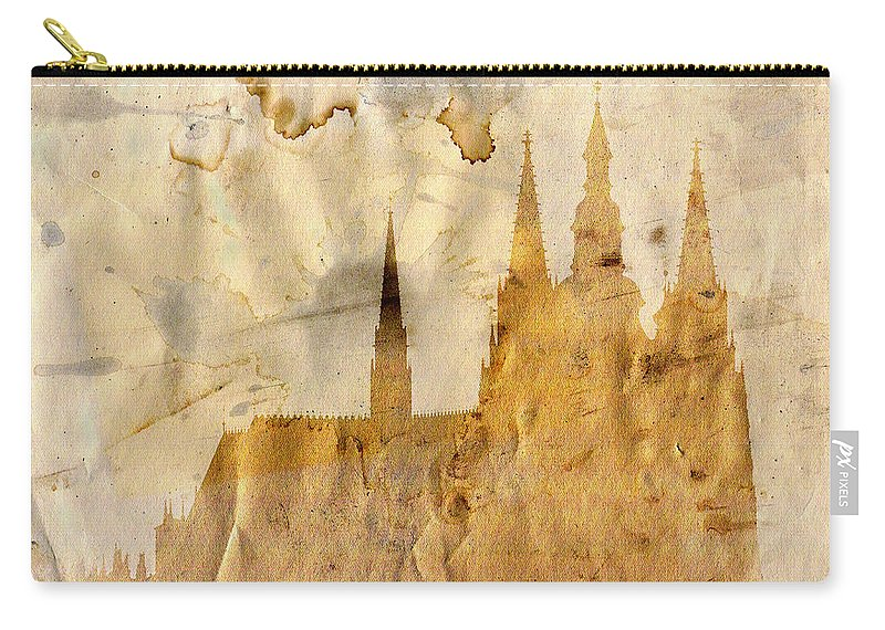Prague Carry-all Pouch featuring the mixed media Prague Castle by Michal Boubin