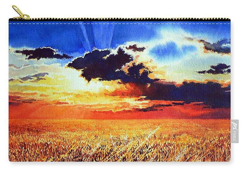 Prairie Gold Painting Carry-all Pouch featuring the painting Prairie Gold by Hanne Lore Koehler