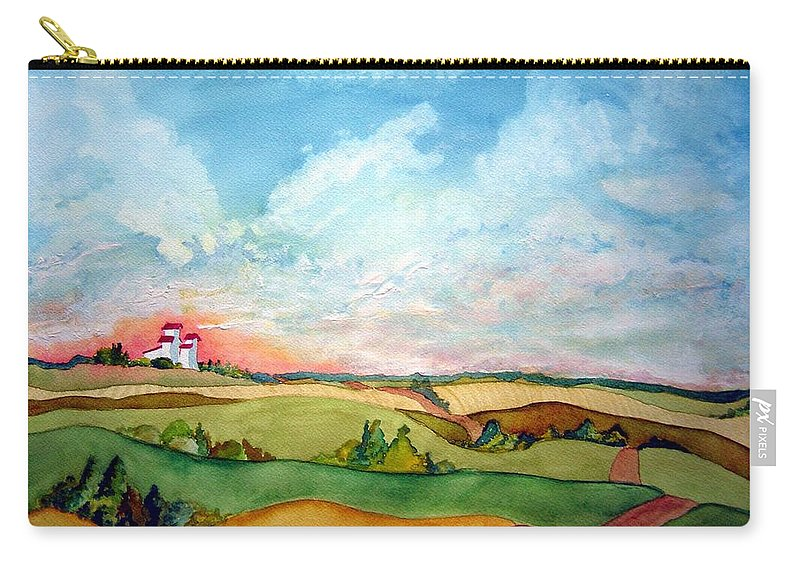 Prairie Grain Elevators Carry-all Pouch featuring the painting Prairie Grain Elevators by Joanne Smoley