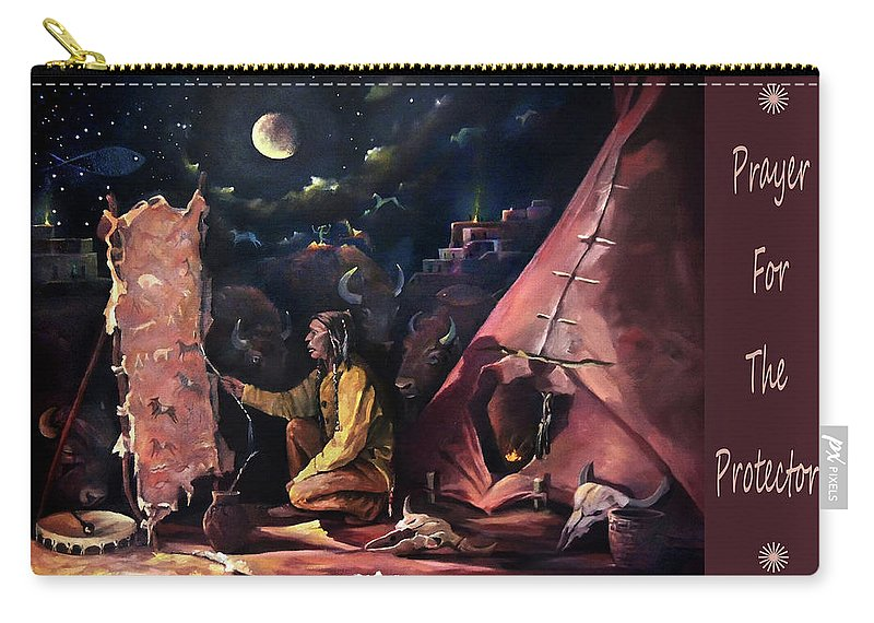 Hide Painter Carry-all Pouch featuring the painting Prayer For The Protectors 2017 by Nancy Griswold