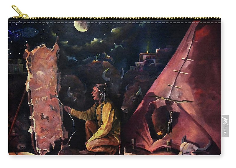 Hide Carry-all Pouch featuring the painting Prayer For The Protectors by Nancy Griswold