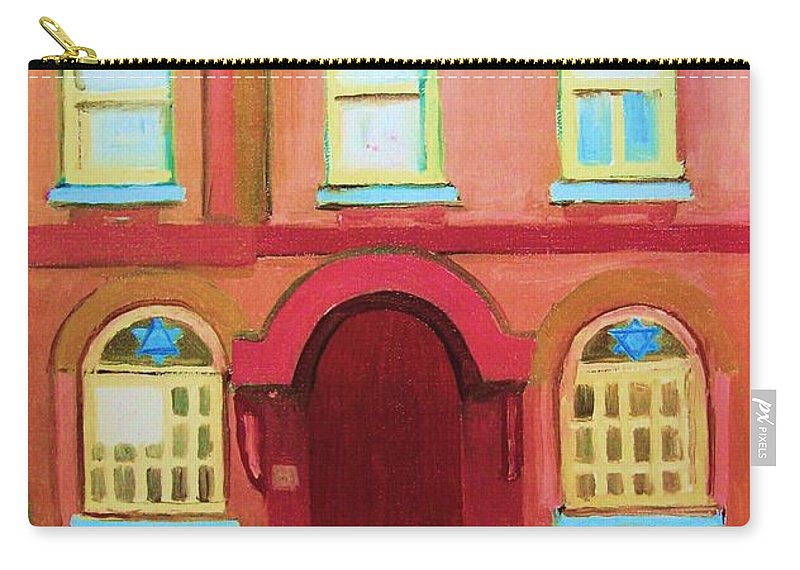 Bagg Street Synagogue Carry-all Pouch featuring the painting Prayer Shawls by Carole Spandau