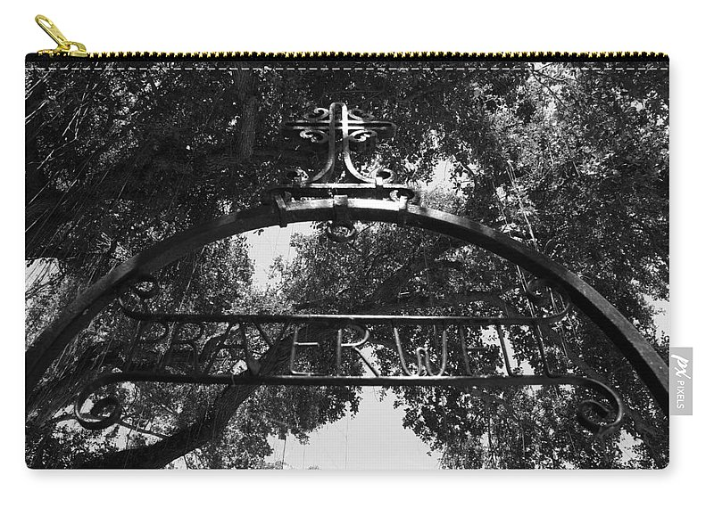 Black And White Carry-all Pouch featuring the photograph Prayer Well by Rob Hans
