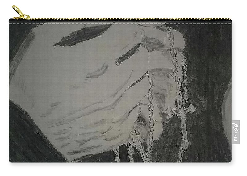 Carry-all Pouch featuring the drawing Praying Hands by Lynda Byrge