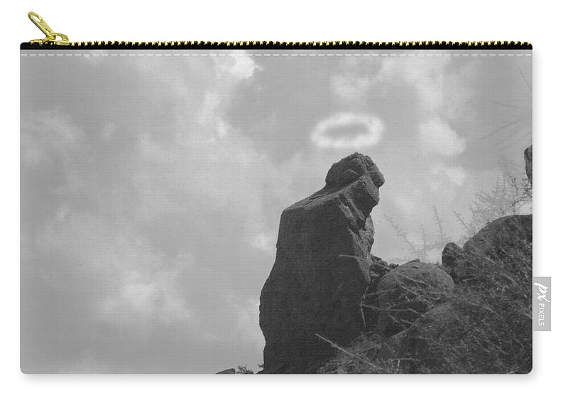 'praying Monk' Carry-all Pouch featuring the photograph Praying Monk - Arizona - Poster Print by James BO Insogna