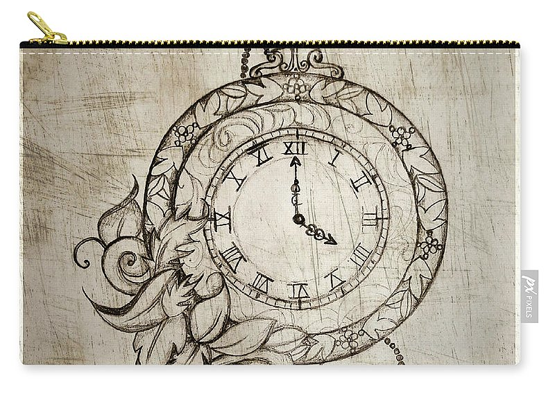 Time Carry-all Pouch featuring the drawing Precious Moments by Nermine Hanna