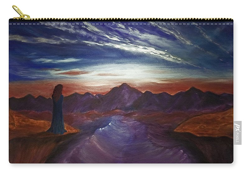 Landscape Carry-all Pouch featuring the painting Precipice by Tabetha Landt