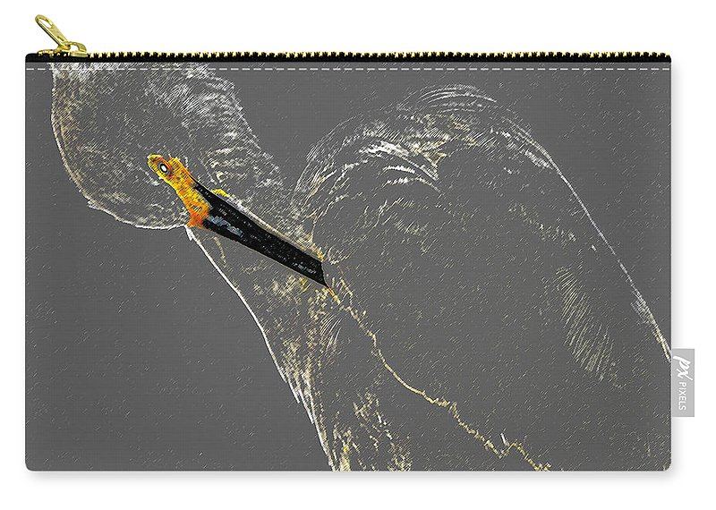 Preening Egret Carry-all Pouch featuring the painting Preening Egret by David Lee Thompson