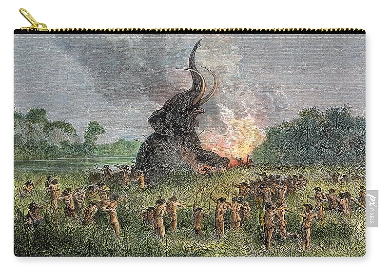 Ancient Carry-all Pouch featuring the photograph Prehistoric Mammoth Hunt by Granger