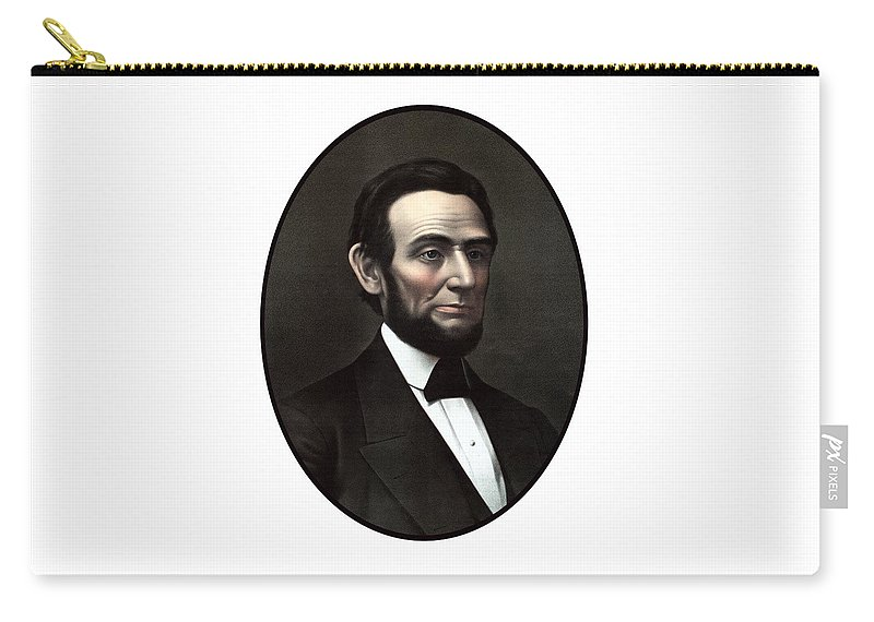 Abraham Lincoln Carry-all Pouch featuring the painting President Abraham Lincoln by War Is Hell Store