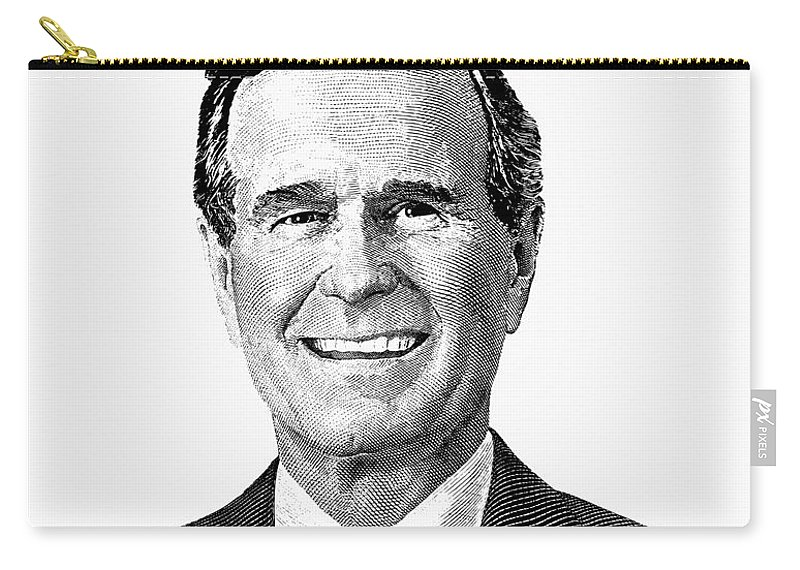 president george h w bush graphic black and white carry all pouch