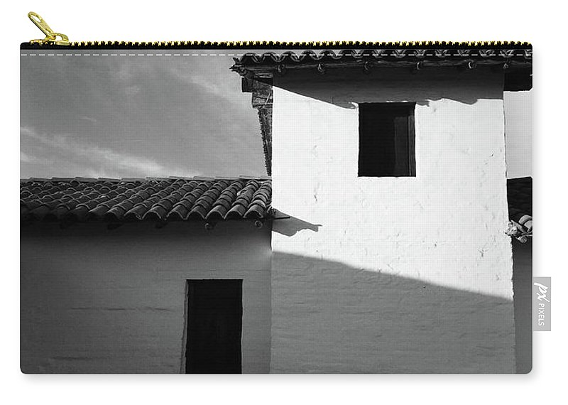 Black And White Carry-all Pouch featuring the photograph Presidio Shadows- Art By Linda Woods by Linda Woods