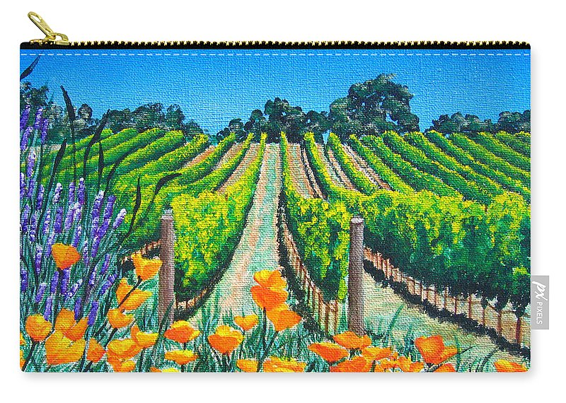 Vineyard Carry-all Pouch featuring the painting Presidio Vineyard by Angie Hamlin