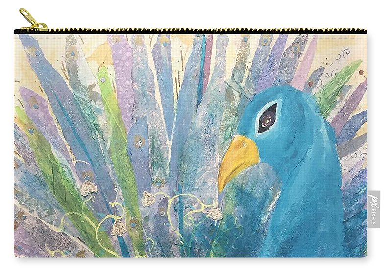 Peacock Carry-all Pouch featuring the mixed media Pretty As A Peacock by Suze Moll