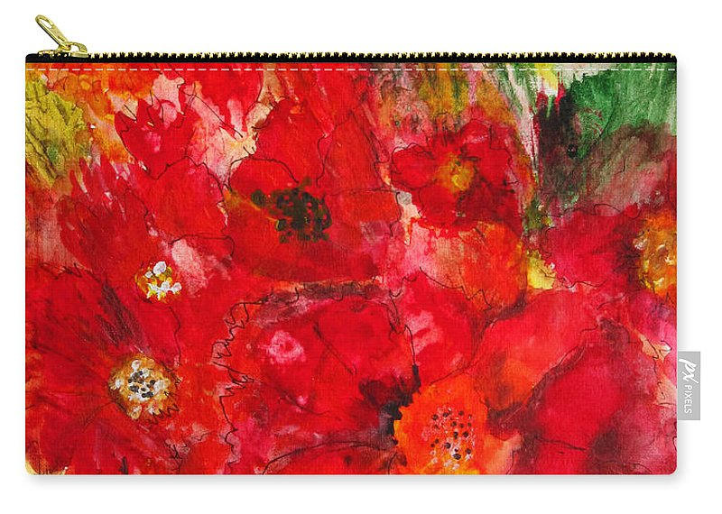 Red Flowers Carry-all Pouch featuring the painting Pretty Flowers by Marilyn Woods