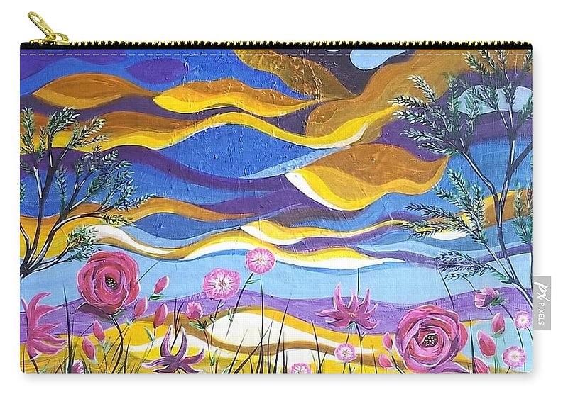 Pink Flowers Carry-all Pouch featuring the painting Pretty In Pink by Roxane Gabriel