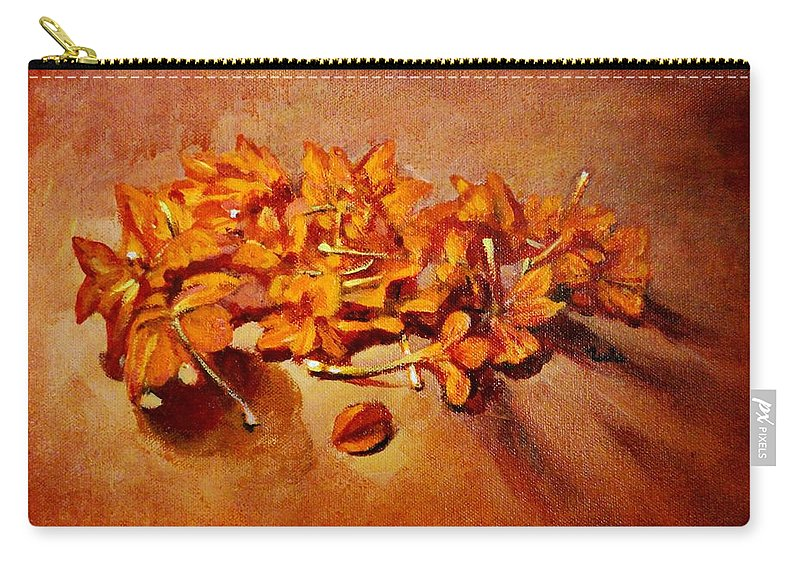 Usha Carry-all Pouch featuring the painting Pretty Little Orange Flowers - Kankaambaram by Usha Shantharam