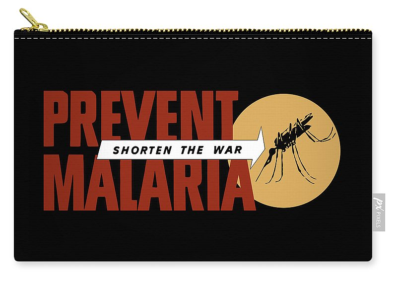 World War Ii Carry-all Pouch featuring the painting Prevent Malaria - Shorten The War by War Is Hell Store