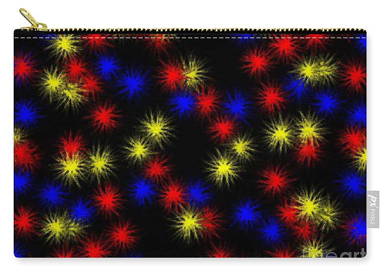 Clay Carry-all Pouch featuring the digital art Primary Bursts Under Glass by Clayton Bruster