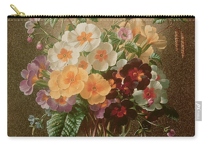 Catkin Carry-all Pouch featuring the painting Primulas In A Glass Vase by Albert Williams