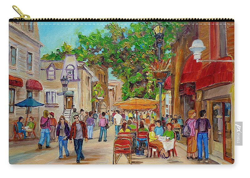 Montreal Carry-all Pouch featuring the painting Prince Arthur Restaurants Montreal by Carole Spandau