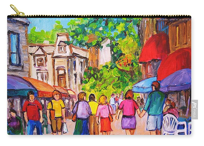 Rue Prince Arthur Montreal Street Scenes Carry-all Pouch featuring the painting Prince Arthur Street Montreal by Carole Spandau