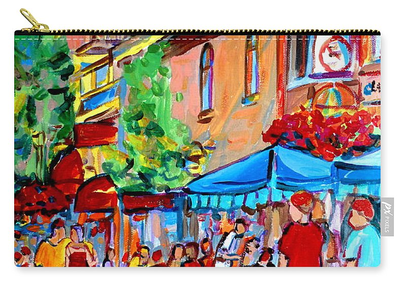 Cafes Carry-all Pouch featuring the painting Prince Arthur Street Summer by Carole Spandau