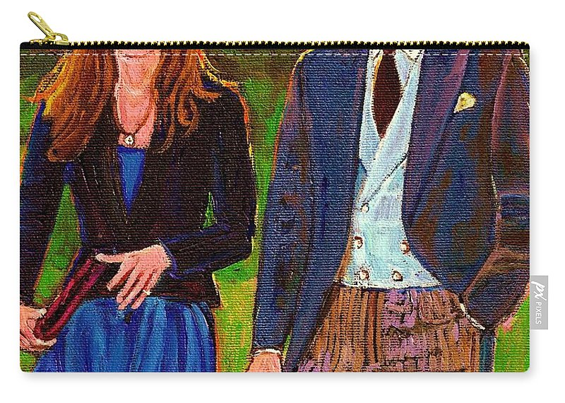 Wills And Kate Carry-all Pouch featuring the painting Prince William And Kate The Young Royals by Carole Spandau