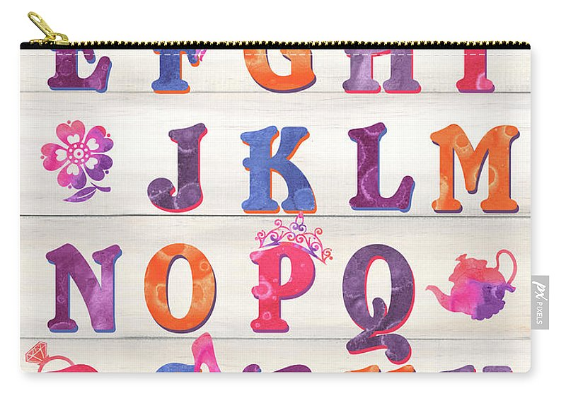 Princess Carry-all Pouch featuring the painting Princess Alphabet by Debbie DeWitt