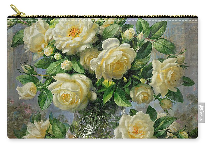 In Honour Of Lady Diana Spencer (1961-97); Still Life; Flower; Rose; Arrangement; Princess Of Wales (1981-96); Homage; Yellow; Flowers; Leafs Carry-all Pouch featuring the painting Princess Diana Roses In A Cut Glass Vase by Albert Williams