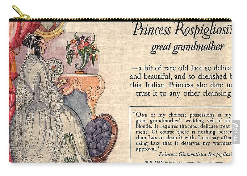 Princess Rospigliosi Carry-all Pouch featuring the digital art Princess Rospigliosi Ephemera Vintage by Anne Kitzman