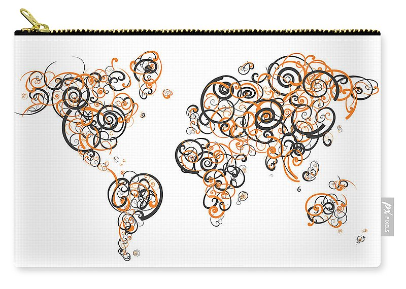 Globe Carry-all Pouch featuring the digital art Princeton University Colors Swirl Map Of The World Atlas by Jurq Studio