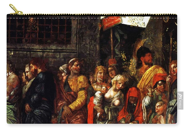 Prisonnniers Carry-all Pouch featuring the painting Prisonnniers 1506 by Mantegna Andrea