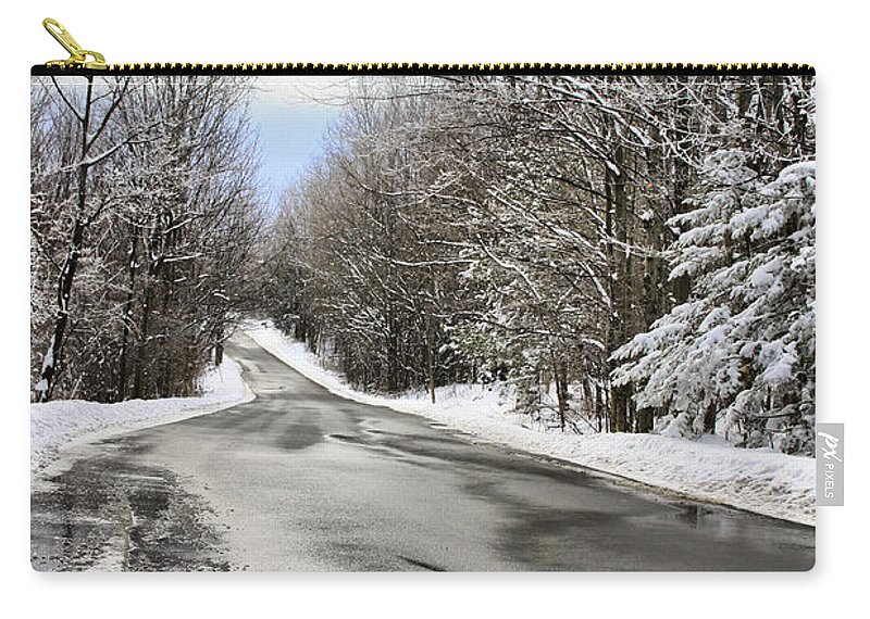Winter Carry-all Pouch featuring the photograph Private Country Road by Deborah Benoit