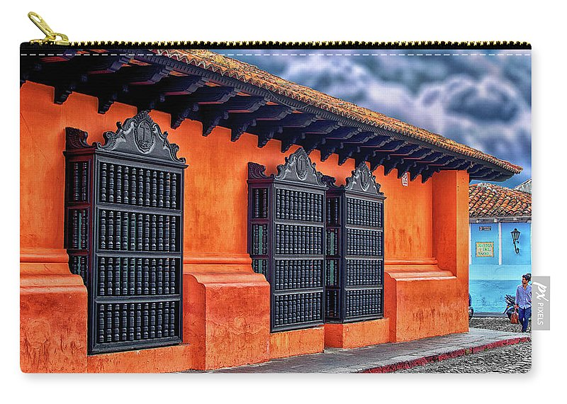 Orange Carry-all Pouch featuring the photograph Private House Antigua Guatemala - Guatemala by Totto Ponce
