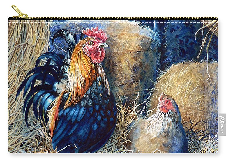 Painting Of Rooster Carry-all Pouch featuring the painting Prized Rooster by Hanne Lore Koehler