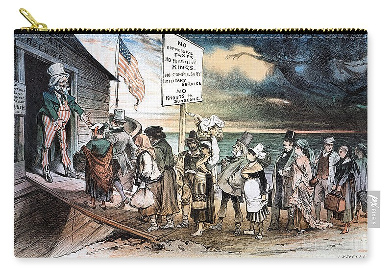 1880 Carry-all Pouch featuring the photograph Pro-immigration Cartoon by Granger