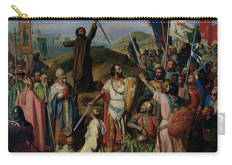 Procession Carry-all Pouch featuring the painting Procession Of Crusaders Around Jerusalem by Jean Victor Schnetz