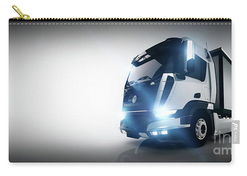 Truck Carry-all Pouch featuring the photograph Professional Cargo Delivery Truck With Long Trailer. Banner by Michal Bednarek