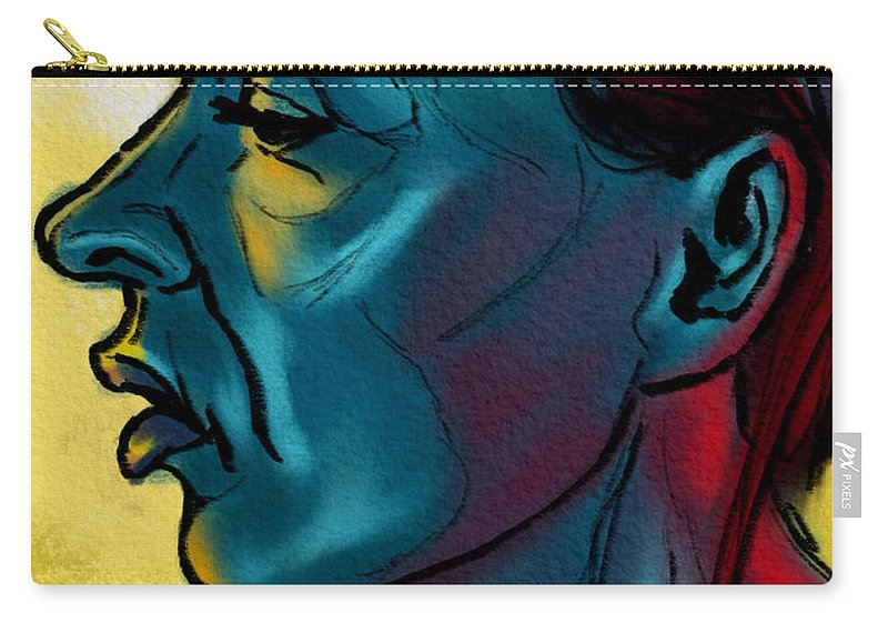 Portrait Carry-all Pouch featuring the digital art Profile In Blue by Michael Kallstrom