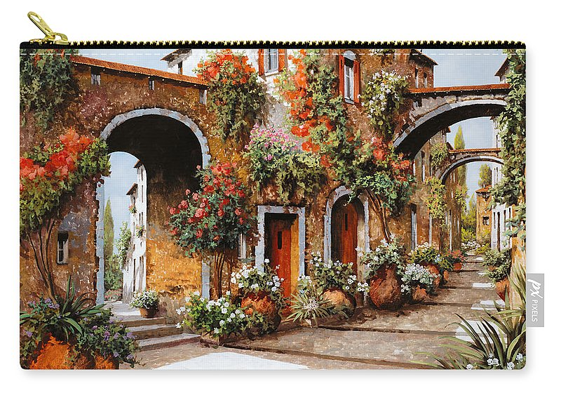 Landscape Carry-all Pouch featuring the painting Profumi Di Paese by Guido Borelli