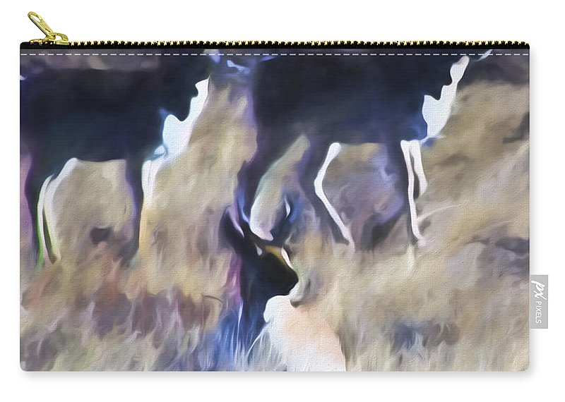 Pronghorn Carry-all Pouch featuring the digital art Pronghorn 4 by Cathy Anderson