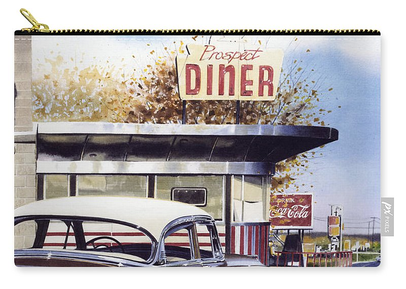 Diner Carry-all Pouch featuring the painting Prospect Diner by Denny Bond